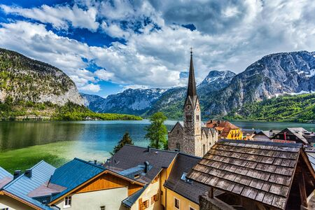 austrian village: Austrian tourist destination Hallstatt village on  Hallstatter See in Austrian alps. Salzkammergut region, Austria