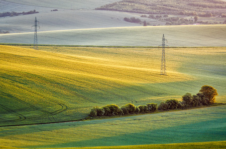 plowed field: Moravian summer rolling landcsape with two power line tower on sunset. Moravia, Czech Republic
