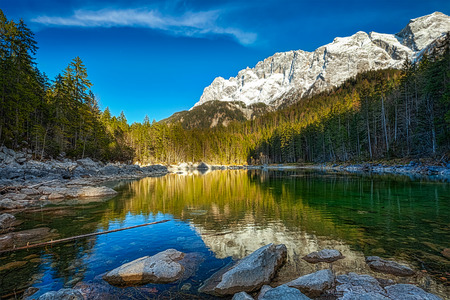 zugspitze mountain: Frillensee (small lake near Eibsee) and Zugspitze - the highest mountain in Germany