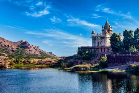Indian landmark Jaswanth Thada mausoleum in Jodhpur, Rajasthan, India 스톡 콘텐츠