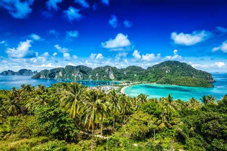 Tropical paradise island resort travel concept background - Phi-Phi island, Krabi Province, Thailand