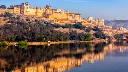 amber fort: Panorama of famous Rajasthan indian landmark - Amer (Amber) fort, Jaipur, Rajasthan, India