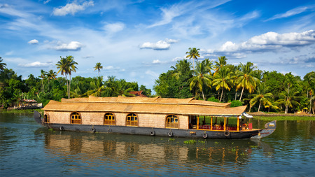 houseboat: Panorama of houseboat on Kerala backwaters. Kerala, India