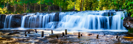 Panorama of Tropical waterfall Phnom Kulen, Cambodia Stock Photo