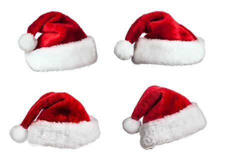 sombrero: Conjunto de sombreros de Santa Claus de pieles aislados sobre fondo blanco