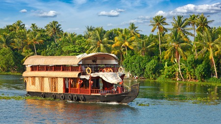 Panorama of houseboat on Kerala backwaters. Kerala, India