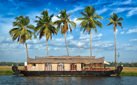 panorama: Panorama of houseboat on Kerala backwaters. Kerala, India