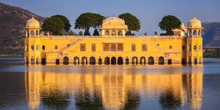 sagar: Panorama of Rajasthan landmark - Jal Mahal (Water Palace) on Man Sagar Lake on sunset.  Jaipur, Rajasthan, India