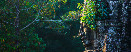Panorama of ancient stone face of Bayon temple, Angkor, Cambodia with growing plants Stock Photo