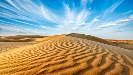 Panorama van de duinen van Thar woestijn. Sam Duinen, Rajasthan, India Stockfoto