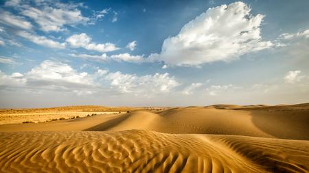 タール砂漠の砂丘のパノラマ。サム砂丘、ラージャス ターン州、インド