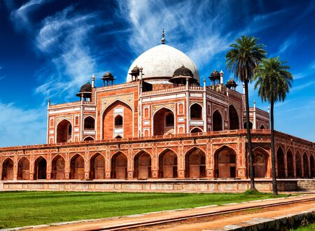 tourist attraction: Famous indian landmark and tourist attraction - Humayuns Tomb. Delhi, India Stock Photo