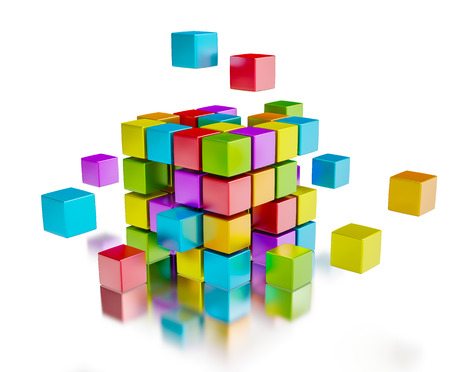 team: Business team teamwork collaboration concept - colorful color cubes assembling into  cubic structure isolated on white with reflection