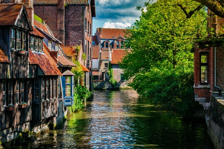 Europe travel background - canal and medieval houses. Bruges (Brugge), Belgium