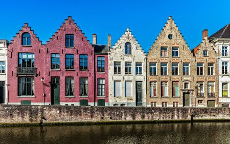 benelux: Europe travel background - canal and medieval houses. Bruges (Brugge), Belgium