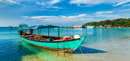 Panorama of boat in Sihanoukville, Cambodia