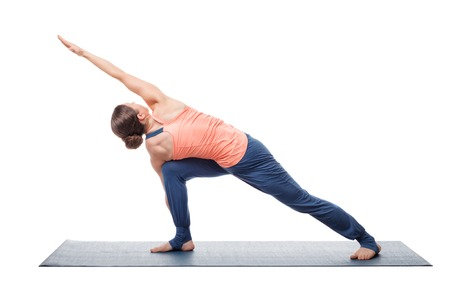 side angle pose: Young fit woman doing Ashtanga Vinyasa Yoga asana Parivritta parsvakonasana - revolved side angle pose isolated on white