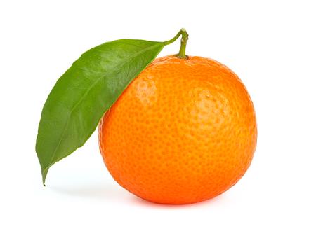 focus stacking: Orange tangerine with leaf isolated on white background