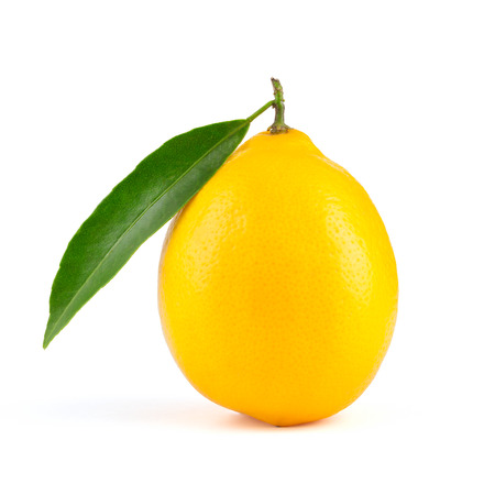 focus stacking: Yellow lemon with leaf isolated on white background