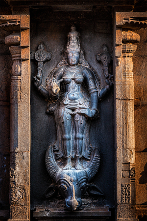 mahishasura: Hindu goddess Durga (Mahisaurmardini) image.  Brihadishwara Temple, Tanjore (Thanjavur), Tamil Nadu, India