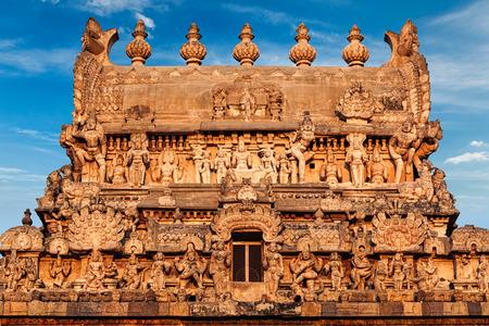 indian god: Entrance tower (gopura) of Periyanayaki Amman Temple against sky. Airavatesvara Temple, Darasuram, Tamil Nadu, India