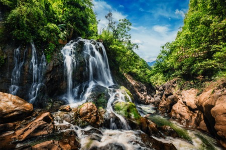 sapa: Waterfal near Cat Cat Village near (Sapa) Sa Pa, Vietnam - popular tourist trekking destination