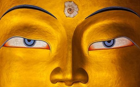 Eyes of Maitreya Buddha face close up. Thiksey Gompa. Ladakh, India