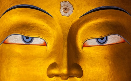 Eyes of Maitreya Buddha face close up. Thiksey Gompa. Ladakh, India