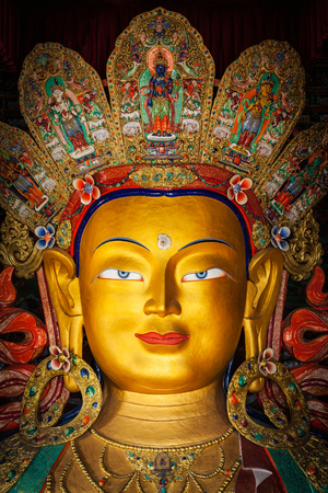 maitreya: Maitreya Buddha statue in Thiksey Gompa. Ladakh, India