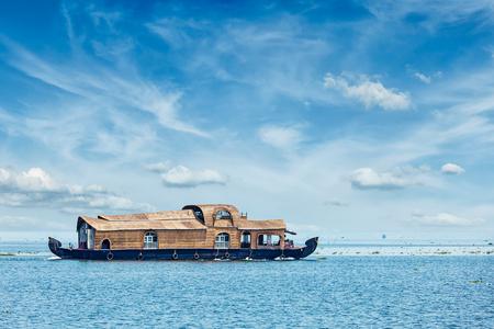 south india: Tourist houseboat in Vembanadu Lake, Kerala, India
