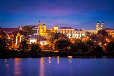 svisloch: Evening view of Minsk cityscape with Holy Spirit Cathedral over Svisloch River, Belarus