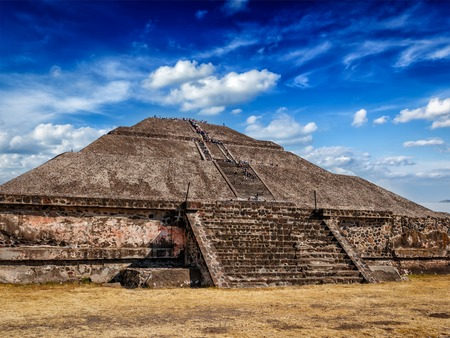 pyramids: Pyramid of the Sun - famous Mexican tourist landmark. Teotihuacan, Mexico