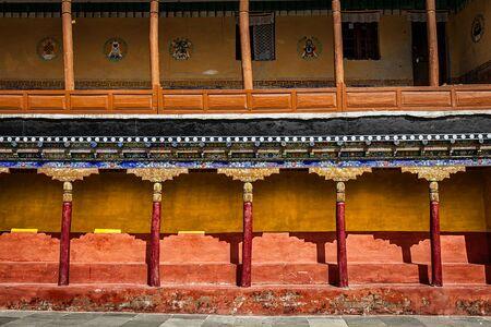 gompa: Tibetan architecture - arcade in Thiksey gompa (Tibetan Buddhist monastery). Ladakh, India