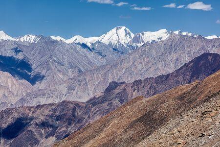 la: View of Karakorum range from Kardung La - the highest motorable pass in the world (5602 m). Ladakh, India Stock Photo