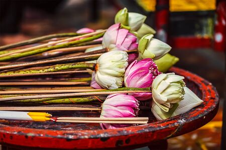 buddhist's: Lotus flowers used as offering in Wat Phra That Doi Suthep Buddhist temple, Chiang Mai, Thailand
