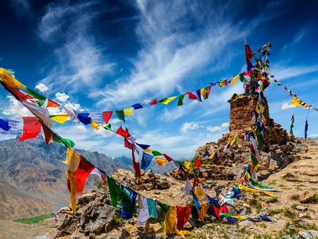 flags: Buddhist prayer flags (lungta) in Spiti Valley, Himachal Pradesh, India