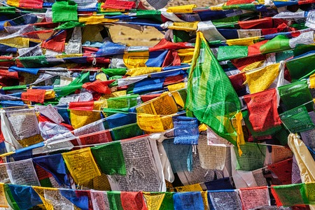 mantra: Buddhist prayer flags lungta with mantra Om mani padme hum in tibetan language on Namshang La pass in Himalayas. Ladakh, India