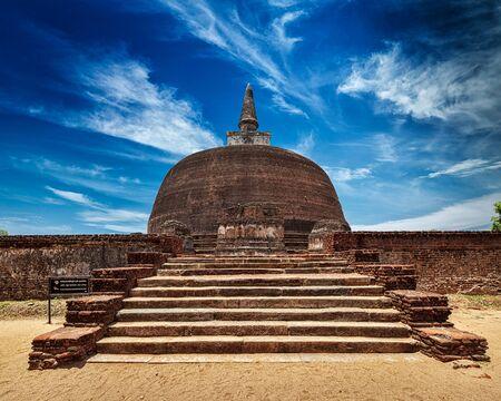dagoba: Sri Lankan tourist landmark - ruins of Rankot Vihara - Buddhist dagoba (stupa).  Pollonaruwa, Sri Lanka