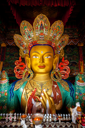 gompa: Maitreya Buddha statue face close up in Thiksey Gompa. Ladakh, India