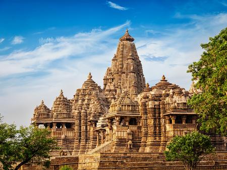 khajuraho: Famous Indian tourist landmark - Kandariya Mahadev Temple, Khajuraho, India. Unesco World Heritage Site