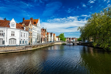 bruges: Canal, bridge and row of old houses, Bruges (Brugge), Belgium Stock Photo
