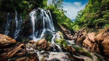 sapa: Panorama image of waterfal near Cat Cat Village near (Sapa) Sa Pa, Vietnam - popular tourist trekking destination