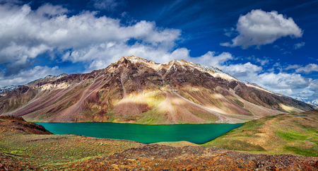 tal: Panorama of mountain lake Chandra Tal in Himalayas. Himachal Pradesh, India