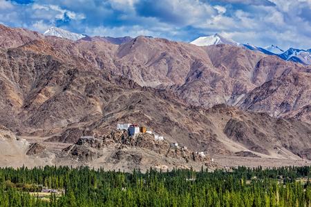 gompa: Thiksey gompa and Himalayas. Ladakh, Jammu and Kashmir, India