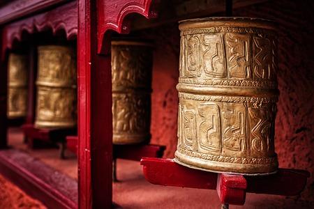 gompa: Buddhist prayer wheels in Thiksey gompa (Tibetan buddhist monstery). Ladakh, India