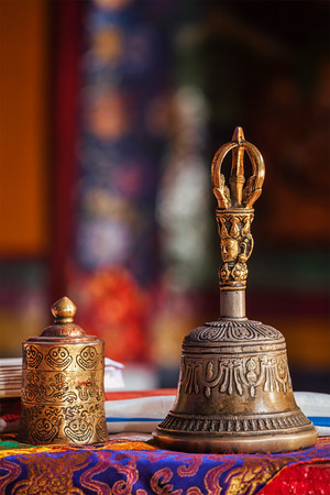 gompa: Religious bell in Spituk Gompa (Tibetan Buddhist monastery). Ladakh, India Stock Photo
