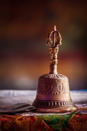 gompa: Religious bell in Spituk Gompa (Tibetan Buddhist monastery). Ladakh, India Stock Photo