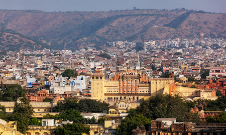 jaipur: Aerial panorama view of Jaipur town and Hawa Mahal palace (Palace of the Winds), Jaipur, Rajasthan Stock Photo