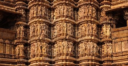 mahadev: Panorama of famous stone carving sculptures, Kandariya Mahadev Temple, Khajuraho, India. Unesco World Heritage Site