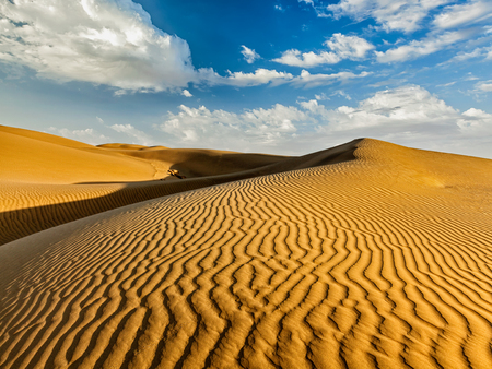 thar: Sam Sand dunes in Thar Desert. Rajasthan, India Stock Photo